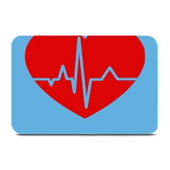Heartbeat Health Heart Sign Red Blue Plate Mats by Mariart