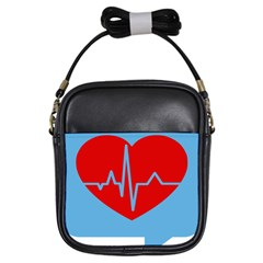 Heartbeat Health Heart Sign Red Blue Girls Sling Bags by Mariart