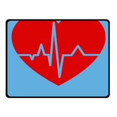 Heartbeat Health Heart Sign Red Blue Fleece Blanket (small)
