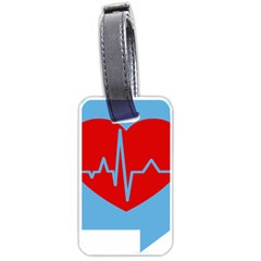Heartbeat Health Heart Sign Red Blue Luggage Tags (two Sides) by Mariart