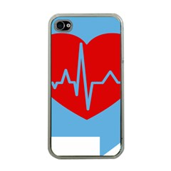 Heartbeat Health Heart Sign Red Blue Apple Iphone 4 Case (clear) by Mariart