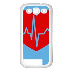 Heartbeat Health Heart Sign Red Blue Samsung Galaxy S3 Back Case (white) by Mariart