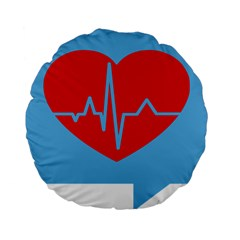 Heartbeat Health Heart Sign Red Blue Standard 15  Premium Flano Round Cushions by Mariart