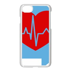 Heartbeat Health Heart Sign Red Blue Apple Iphone 7 Seamless Case (white) by Mariart