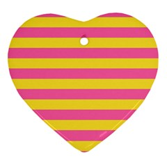 Horizontal Pink Yellow Line Ornament (heart) by Mariart