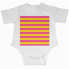 Horizontal Pink Yellow Line Infant Creepers by Mariart