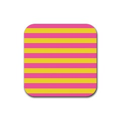 Horizontal Pink Yellow Line Rubber Square Coaster (4 Pack)  by Mariart