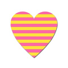 Horizontal Pink Yellow Line Heart Magnet by Mariart