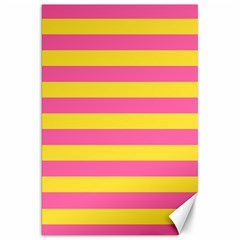 Horizontal Pink Yellow Line Canvas 20  X 30   by Mariart