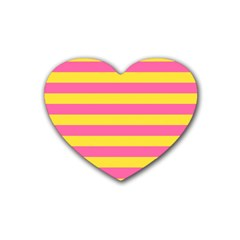 Horizontal Pink Yellow Line Heart Coaster (4 Pack)  by Mariart