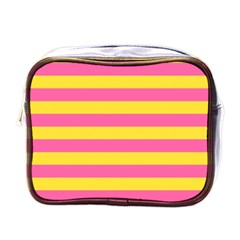 Horizontal Pink Yellow Line Mini Toiletries Bags by Mariart
