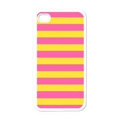 Horizontal Pink Yellow Line Apple Iphone 4 Case (white) by Mariart