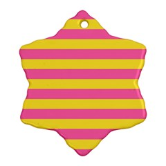 Horizontal Pink Yellow Line Ornament (snowflake) by Mariart