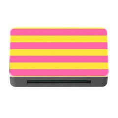 Horizontal Pink Yellow Line Memory Card Reader With Cf by Mariart