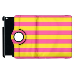 Horizontal Pink Yellow Line Apple Ipad 2 Flip 360 Case by Mariart