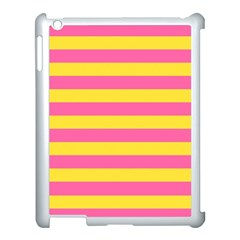 Horizontal Pink Yellow Line Apple Ipad 3/4 Case (white) by Mariart