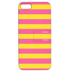 Horizontal Pink Yellow Line Apple Iphone 5 Hardshell Case With Stand by Mariart