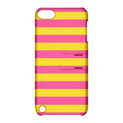 Horizontal Pink Yellow Line Apple Ipod Touch 5 Hardshell Case With Stand by Mariart