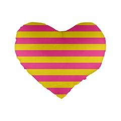 Horizontal Pink Yellow Line Standard 16  Premium Flano Heart Shape Cushions by Mariart
