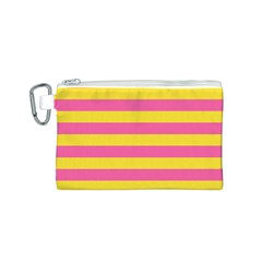 Horizontal Pink Yellow Line Canvas Cosmetic Bag (s) by Mariart