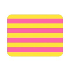 Horizontal Pink Yellow Line Double Sided Flano Blanket (mini)  by Mariart