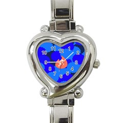 Image Orange Blue Sign Black Spot Polka Heart Italian Charm Watch by Mariart