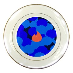 Image Orange Blue Sign Black Spot Polka Porcelain Plates by Mariart