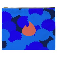 Image Orange Blue Sign Black Spot Polka Cosmetic Bag (xxxl)  by Mariart