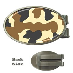 Initial Camouflage Camo Netting Brown Black Money Clips (oval)  by Mariart