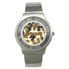 Initial Camouflage Camo Netting Brown Black Stainless Steel Watch by Mariart