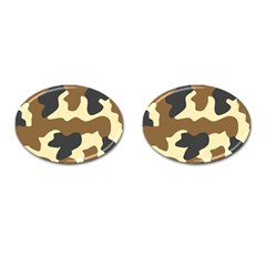 Initial Camouflage Camo Netting Brown Black Cufflinks (oval) by Mariart