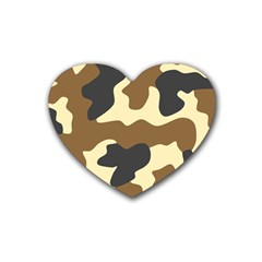 Initial Camouflage Camo Netting Brown Black Rubber Coaster (heart)  by Mariart