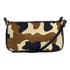 Initial Camouflage Camo Netting Brown Black Shoulder Clutch Bags by Mariart