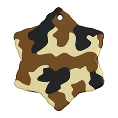 Initial Camouflage Camo Netting Brown Black Snowflake Ornament (two Sides) by Mariart