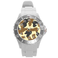 Initial Camouflage Camo Netting Brown Black Round Plastic Sport Watch (l) by Mariart