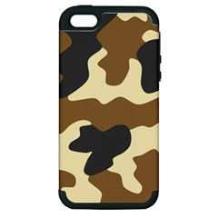 Initial Camouflage Camo Netting Brown Black Apple Iphone 5 Hardshell Case (pc+silicone) by Mariart
