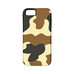 Initial Camouflage Camo Netting Brown Black Apple Iphone 5 Classic Hardshell Case (pc+silicone) by Mariart