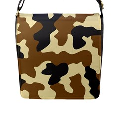 Initial Camouflage Camo Netting Brown Black Flap Messenger Bag (l)  by Mariart