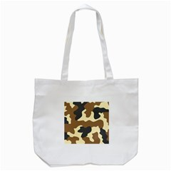 Initial Camouflage Camo Netting Brown Black Tote Bag (white) by Mariart