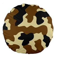 Initial Camouflage Camo Netting Brown Black Large 18  Premium Flano Round Cushions by Mariart