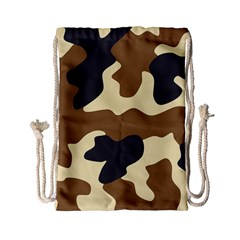 Initial Camouflage Camo Netting Brown Black Drawstring Bag (small) by Mariart