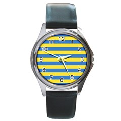 Horizontal Blue Yellow Line Round Metal Watch by Mariart