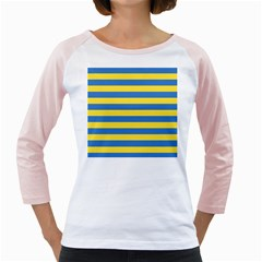Horizontal Blue Yellow Line Girly Raglans by Mariart