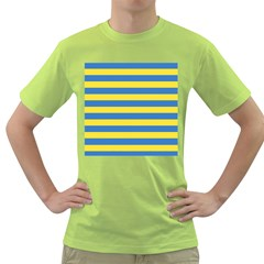 Horizontal Blue Yellow Line Green T Shirt by Mariart