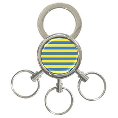 Horizontal Blue Yellow Line 3 Ring Key Chains by Mariart