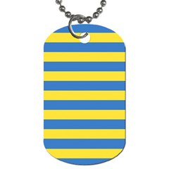 Horizontal Blue Yellow Line Dog Tag (two Sides) by Mariart