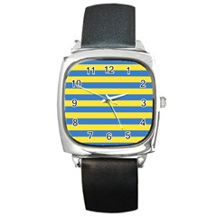 Horizontal Blue Yellow Line Square Metal Watch by Mariart