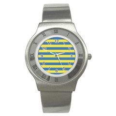 Horizontal Blue Yellow Line Stainless Steel Watch by Mariart