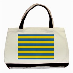 Horizontal Blue Yellow Line Basic Tote Bag by Mariart