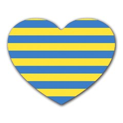 Horizontal Blue Yellow Line Heart Mousepads by Mariart